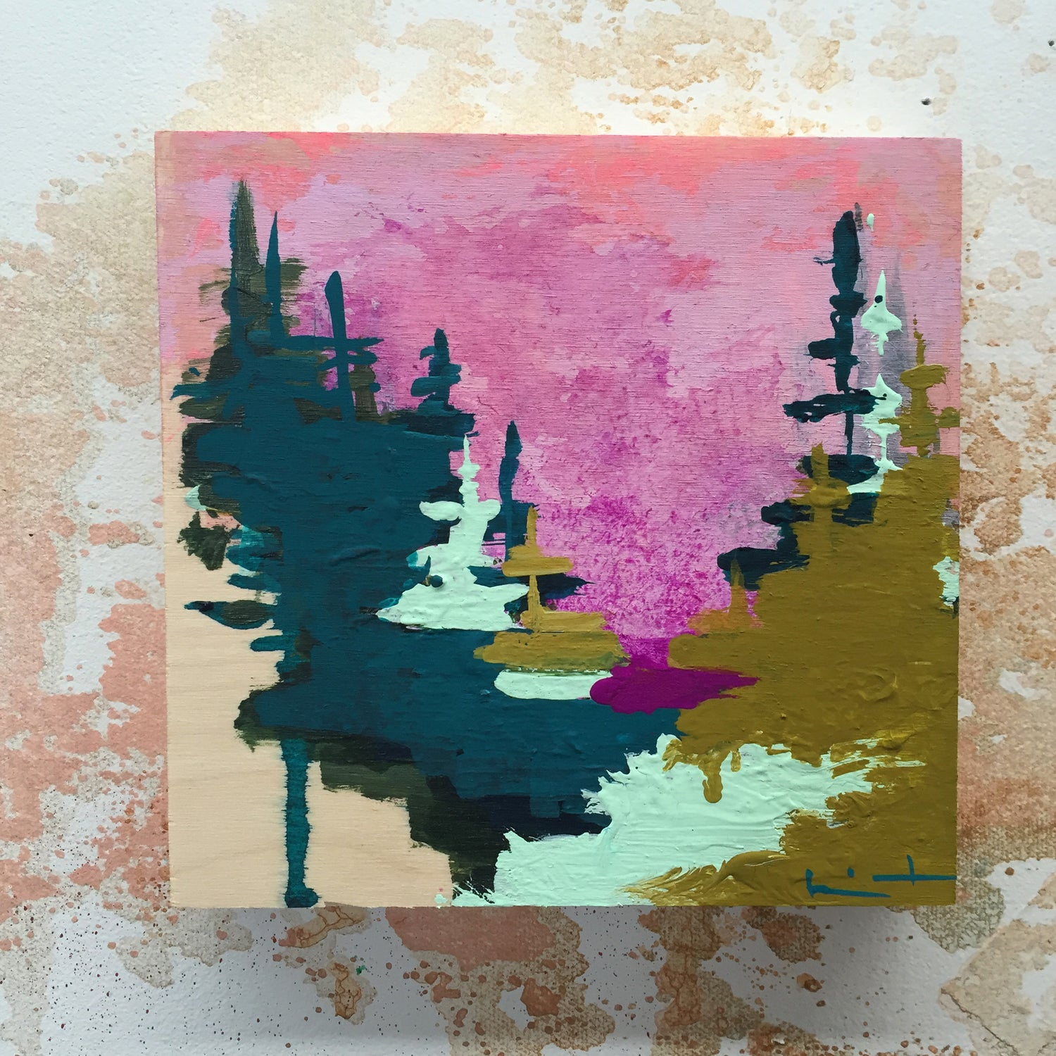 Image of Tiny Painting No. 19 (deep turquoise, olive, plum)