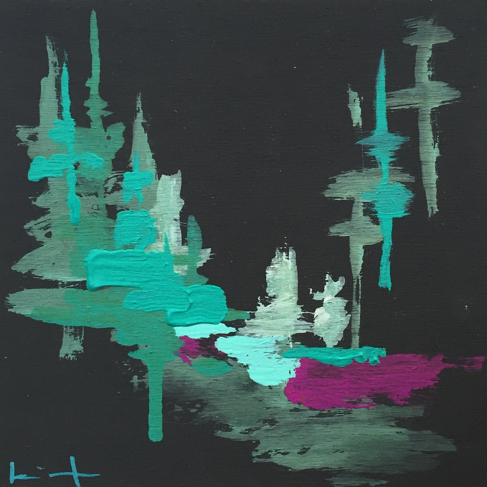 Image of Tiny Painting No.14 (black, violet, turqouise)