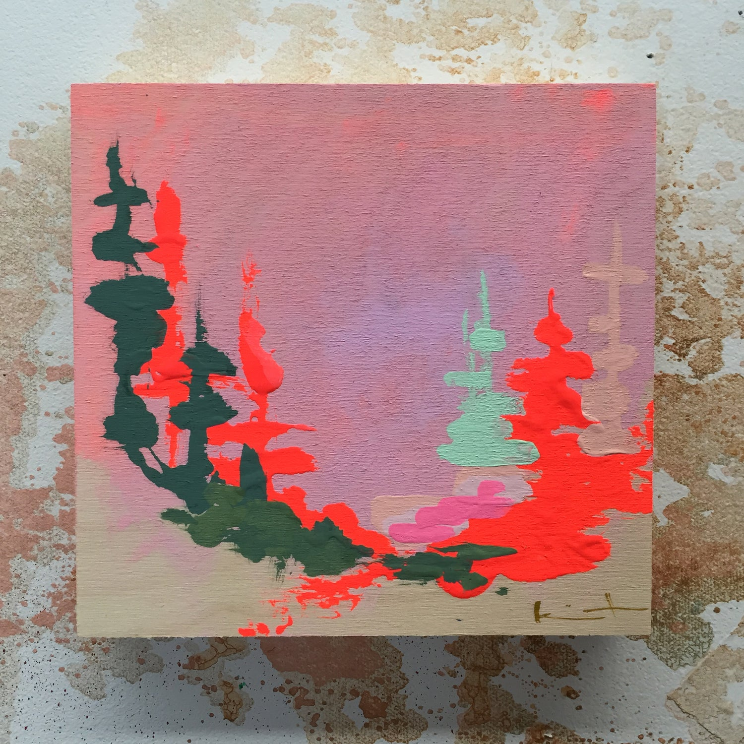 Image of Tiny Painting No. 16 (rose, mint, vermilion)