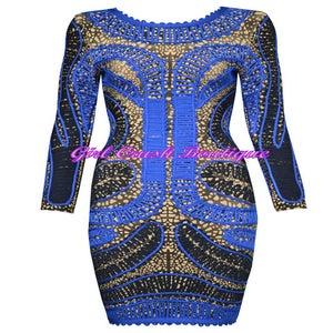 Image of Multi Blue Geometric Print Bandage Dress