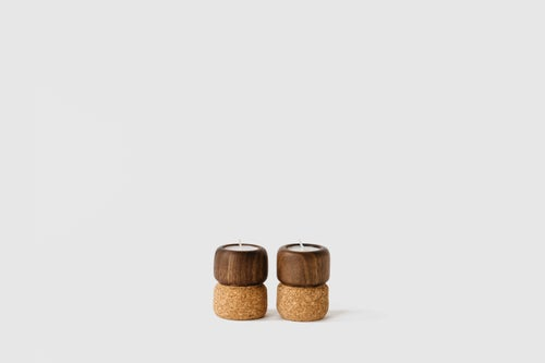 Image of Petite Cork + Wood Candle Holders
