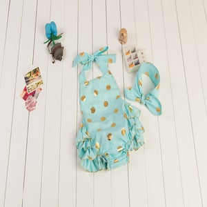 Image of Mint Blue with Gold Polka Dots Baby Girl Bubble Romper, Halter Ruffle Butt Romper