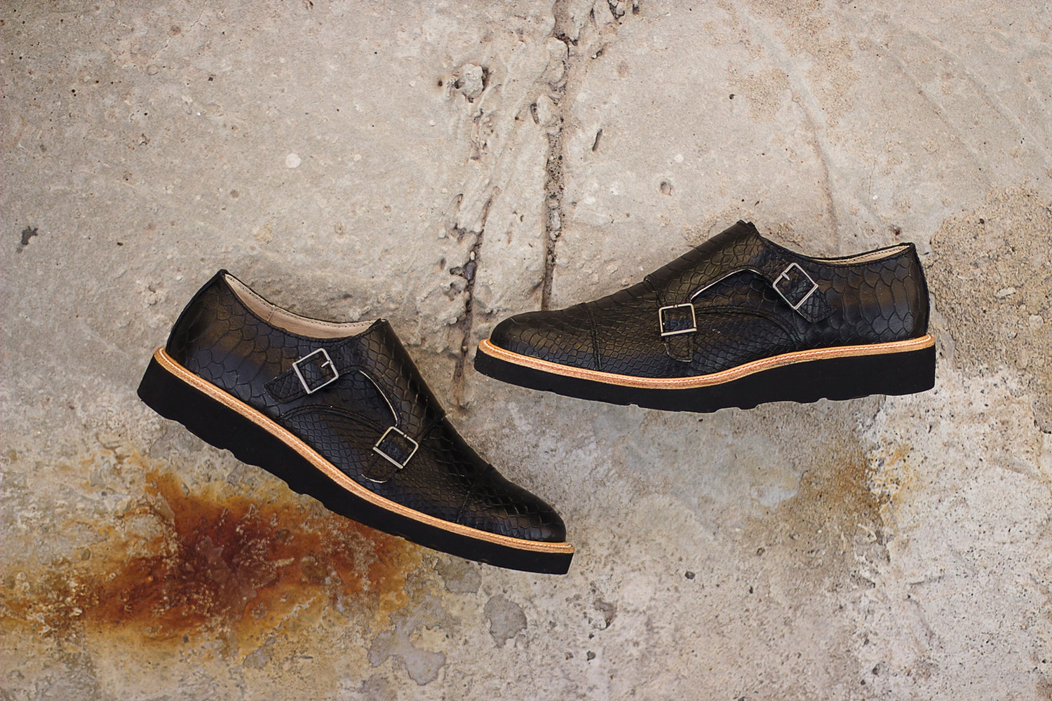 Image of Handmade Shoes | 401 Monk Double Strap Black Edition