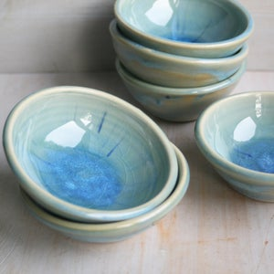 Image of Sea Glass Blue Handcrafted Small Pottery Bowl Made in USA