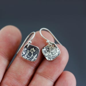 Image of Tiny Diamond-shaped Silver Lace Earrings