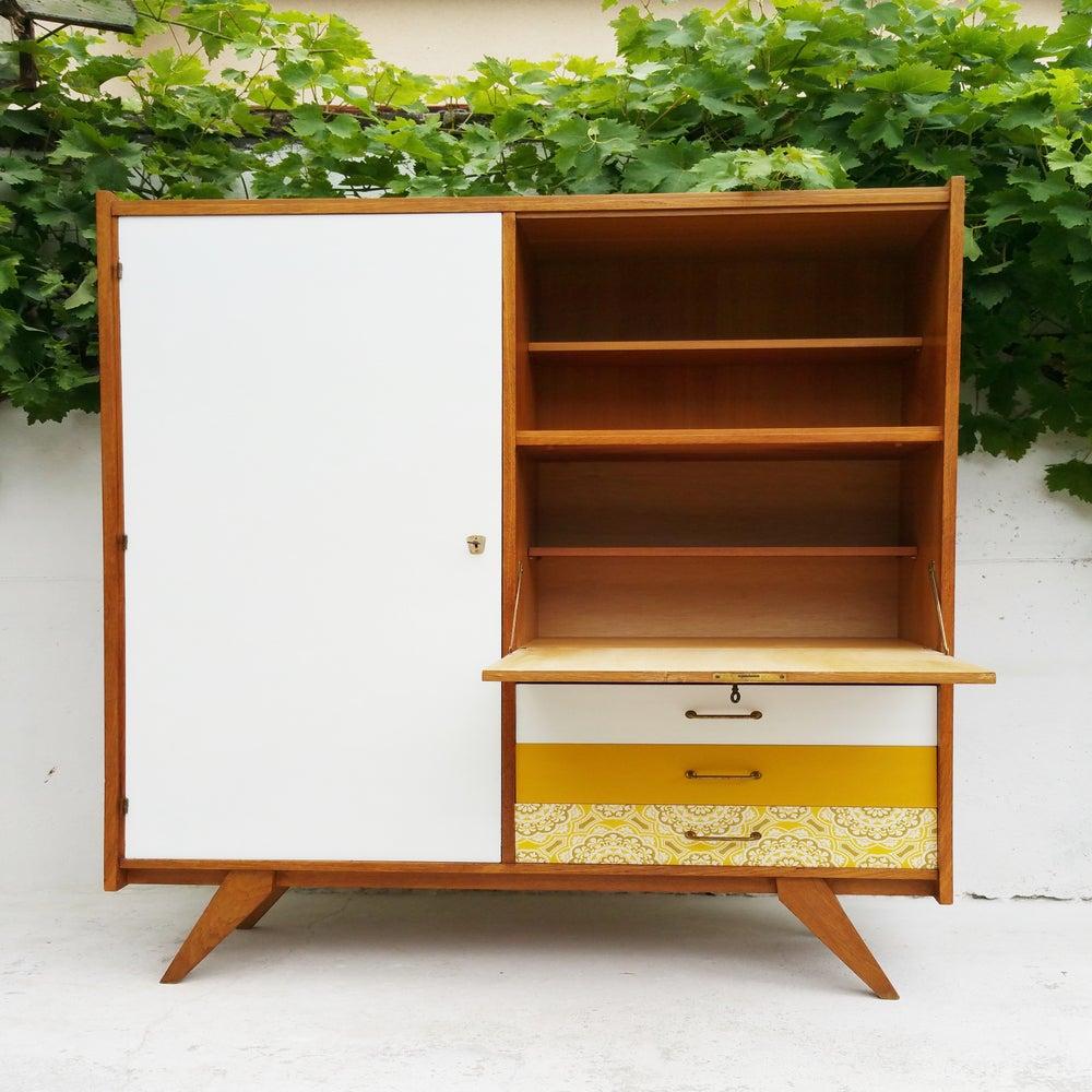 armoire secr taire bois clair vintage fibresendeco. Black Bedroom Furniture Sets. Home Design Ideas