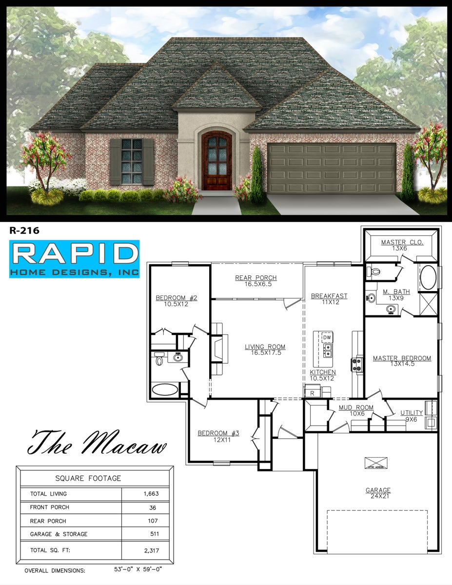 The macaw 1663sf rapid home designs for Rapid home designs