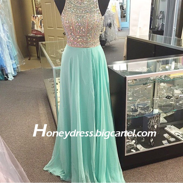 Image of Mint Chiffon Beading Boat Neckline Prom Party Dress With Crystals