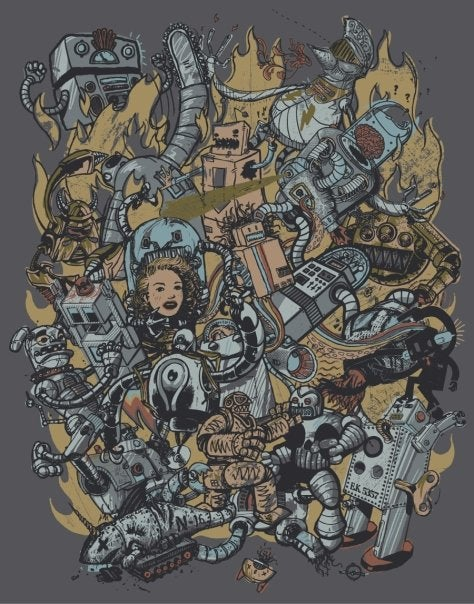 Image of Robot Attack print