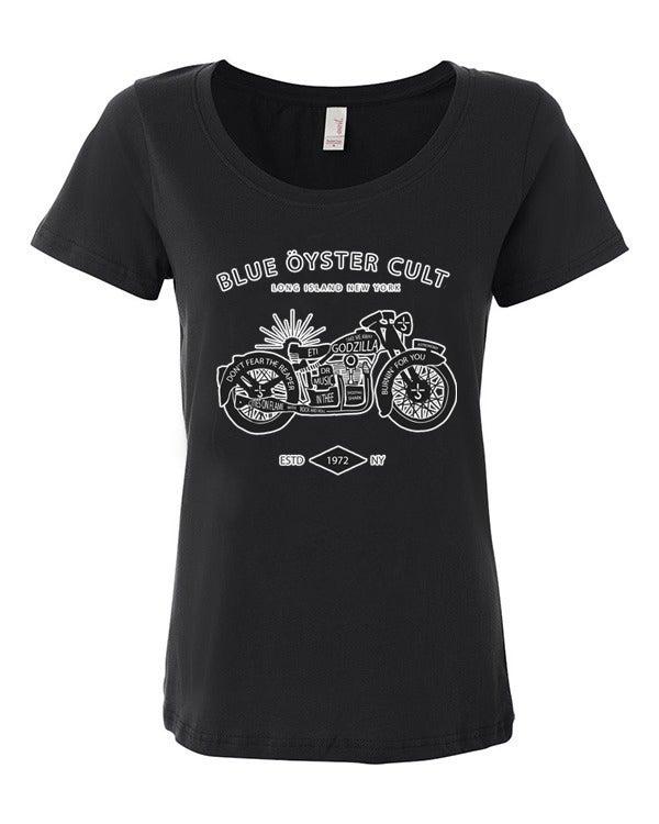 Image of Blue Oyster Cult Unisex Shirt - White or Black / BOC Ladies Scoop Neck Shirt - Black