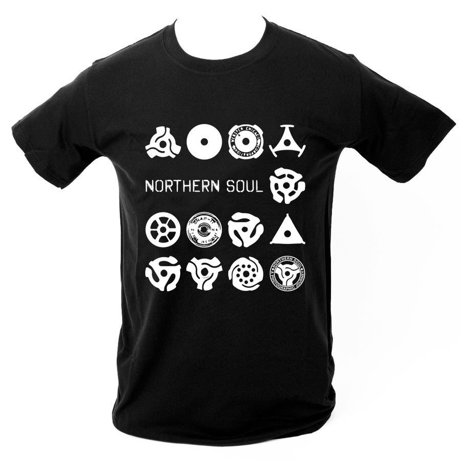 Image of Record centre adapter T-Shirt. BLACK.