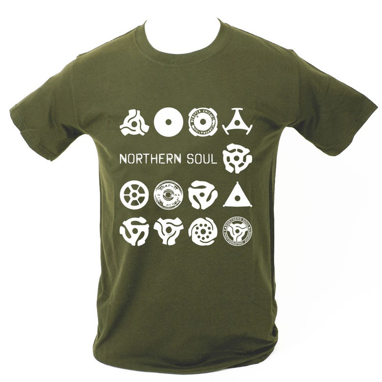 Image of Record centre adapter T-Shirt. MILITARY GREEN.