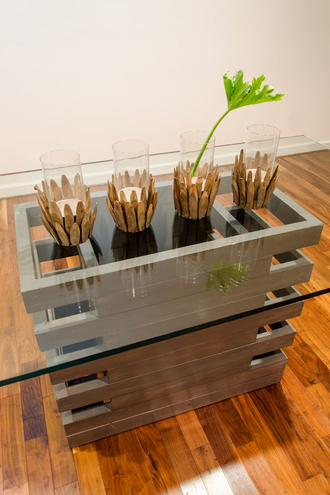 Image of 8 foot Scala table with glass top