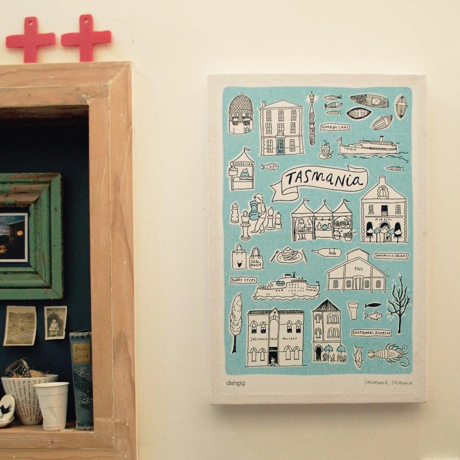 Image of Celebrate Salamanca, Tasmania Tea Towel