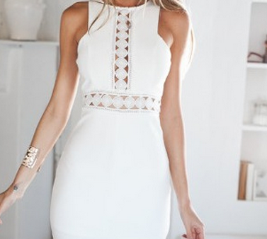 Image of Cute lace hollow out irregular dress