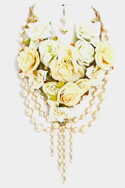 Image of Cluster Layered Pearl Chunky Necklace Set