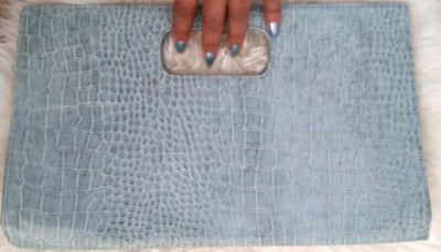 Image of Teal faux leather Crocodile style Clutch