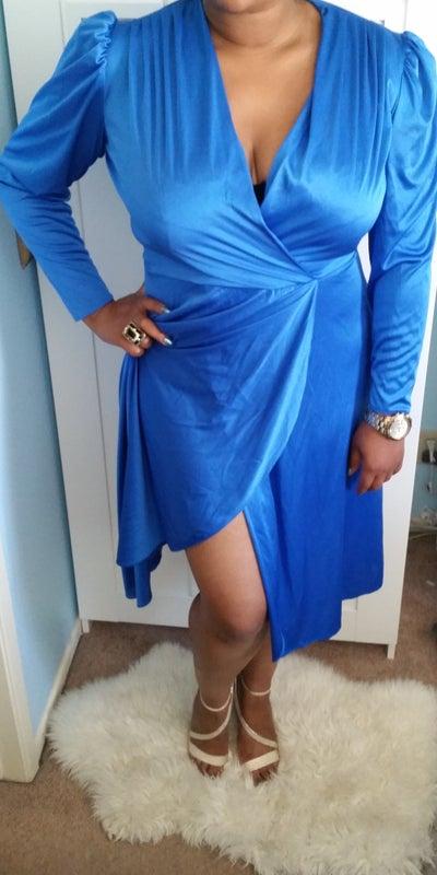 Image of Vintage Blue Old Hollywood-Glam Style Dress