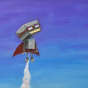 Up in the Clouds Print - Robot Art by Matt Q. Spangler