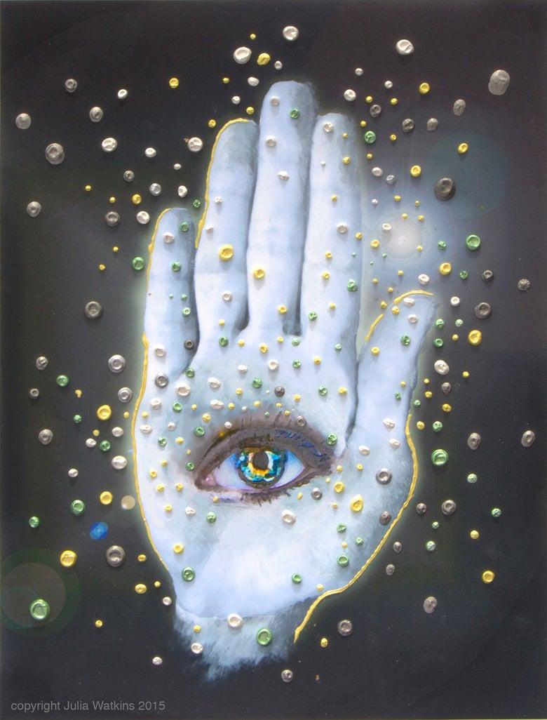 Image of The Hamsa Spiritual Protection Energy Painting - Giclee Print