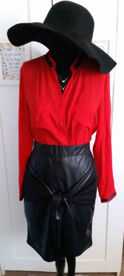 Image of Red W/ leather trim Dress Shirt