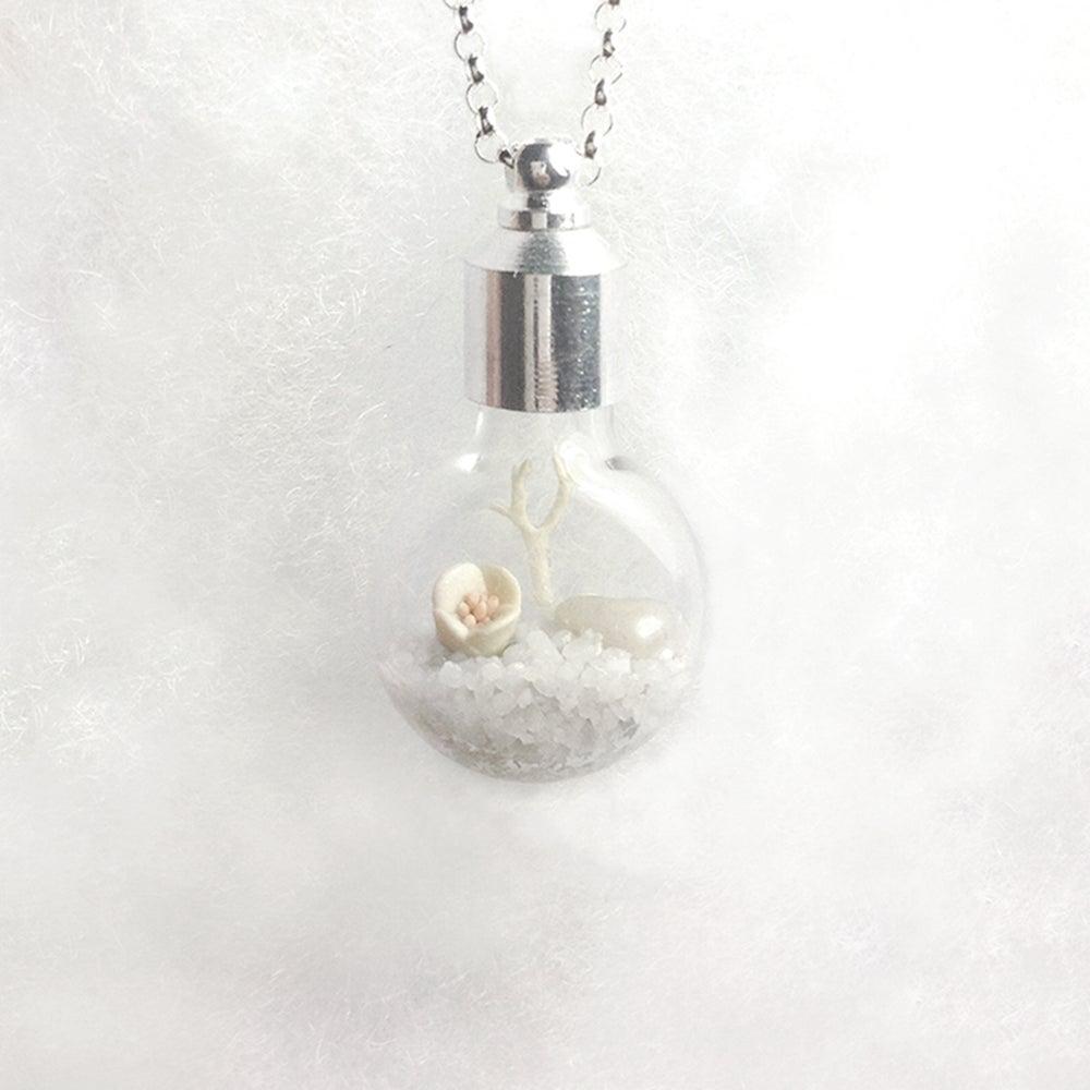 Image of White Wedding Necklace, Winter Landscape Fairy Garden