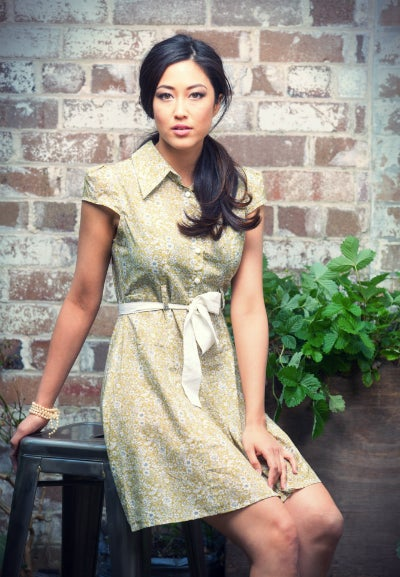 Image of Donegal Printed button-up Olive Dress
