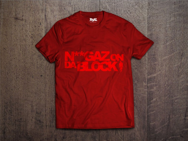 Image of Niggaz On Da Block T-shirt (Red/Red Font)
