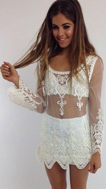 Image of CUTE LACE FLOWER TOP BLOUSE SMOCK