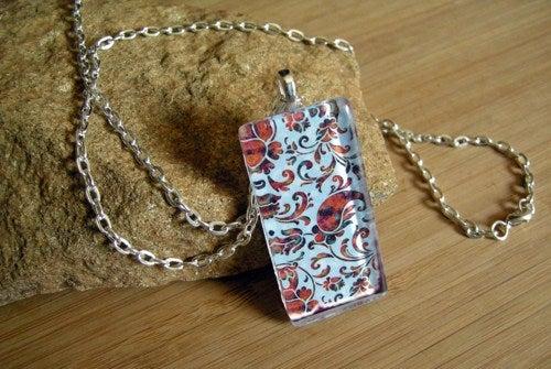 Image of Light Blue Pattern Glass Pendant Necklace