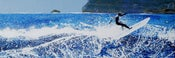Image of Polzeath, Cornwall - surfer, shadow, seaspray flying