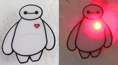 "Image of Baymax 1.75"" LED Light Up Lapel Pin Numbered - INSTOCK"