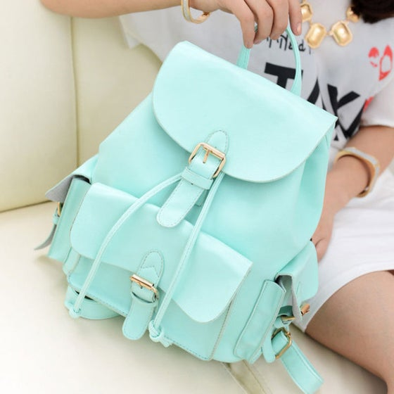 Image of Cute Mint Green College Style Backpack AZK45UF