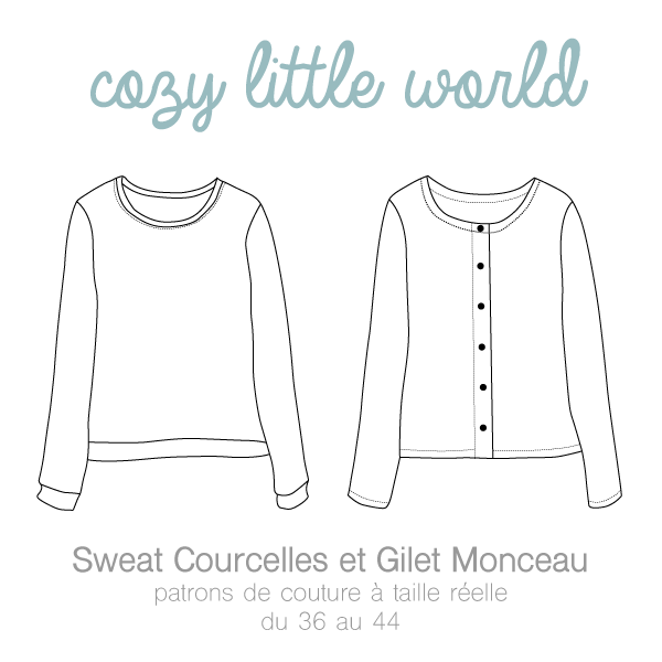 Image of Patron PDF - Gilet Monceau / Sweat Courcelles (36-44)
