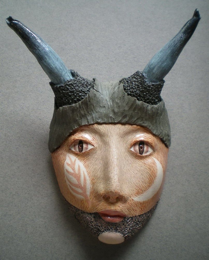 Image of Lost and Fauned - Mask Sculpture, Stoneware Wall Art, Original Mask Art