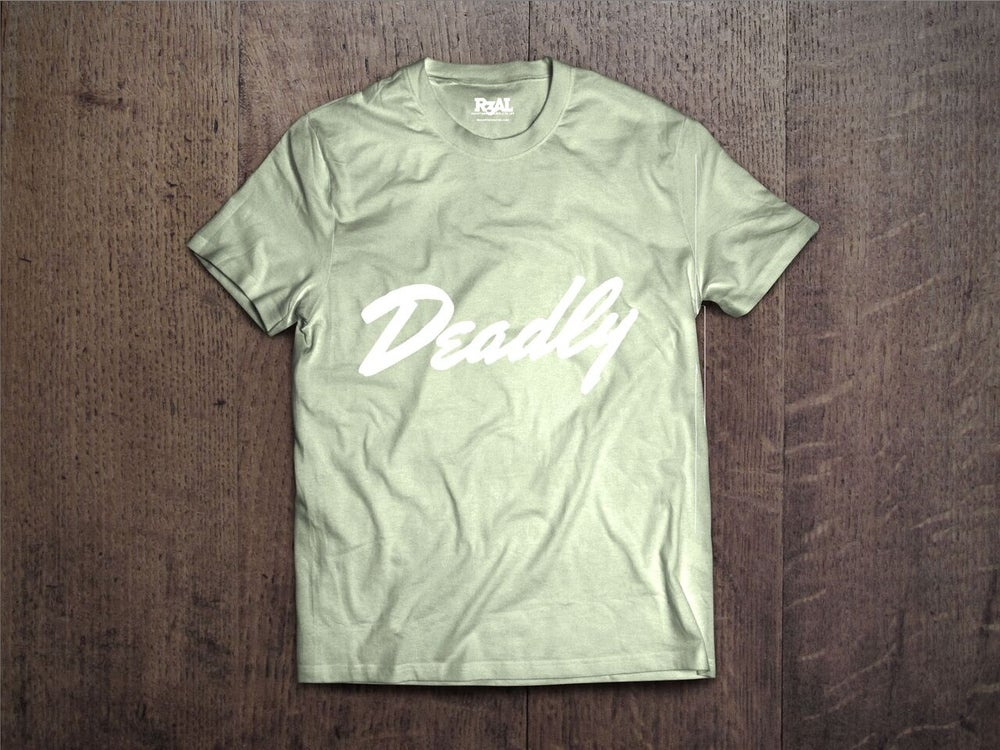 Image of Deadly T-Shirt - (Maroon Green/White Font)