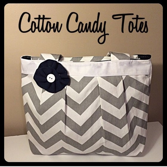Image of Grey Chevron Pleated Tote Bag
