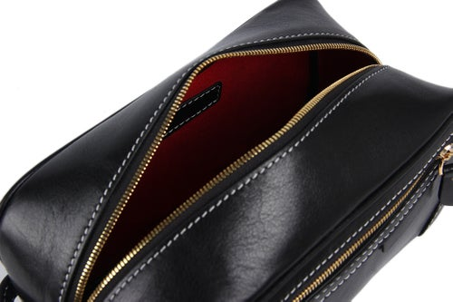 Image of Handmade Italian Full Grain Vegetable Tanned Leather Pouch Bag Clutch Bag Comestic Bag PB01