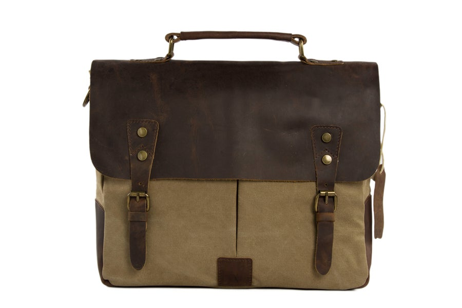 Image of 14'' Canvas Leather Bag Briefcase Messenger Bag Shoulder Bag Laptop Bag 1807