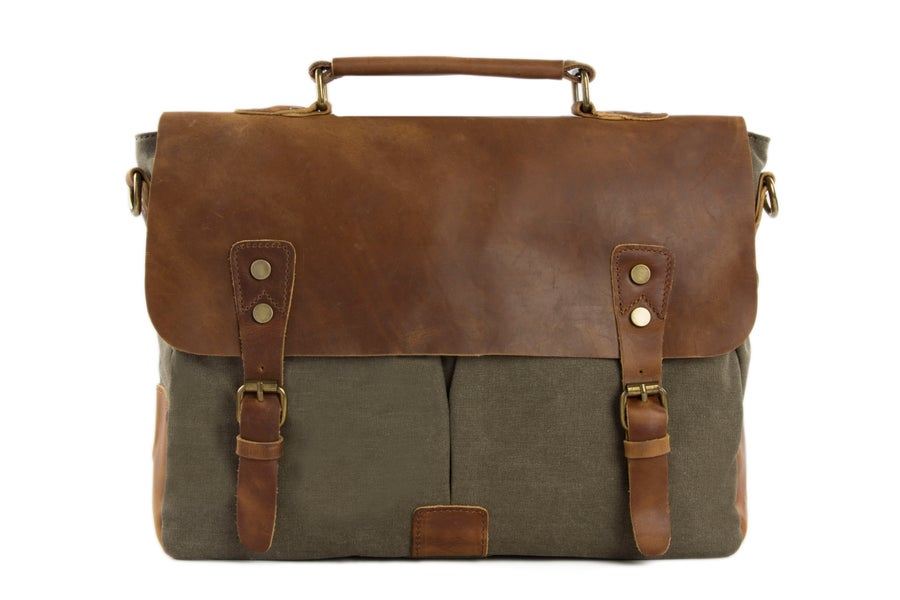 Image of Handmade Canvas Leather Briefcase Messenger Bag Shoulder Bag Laptop Bag 1807