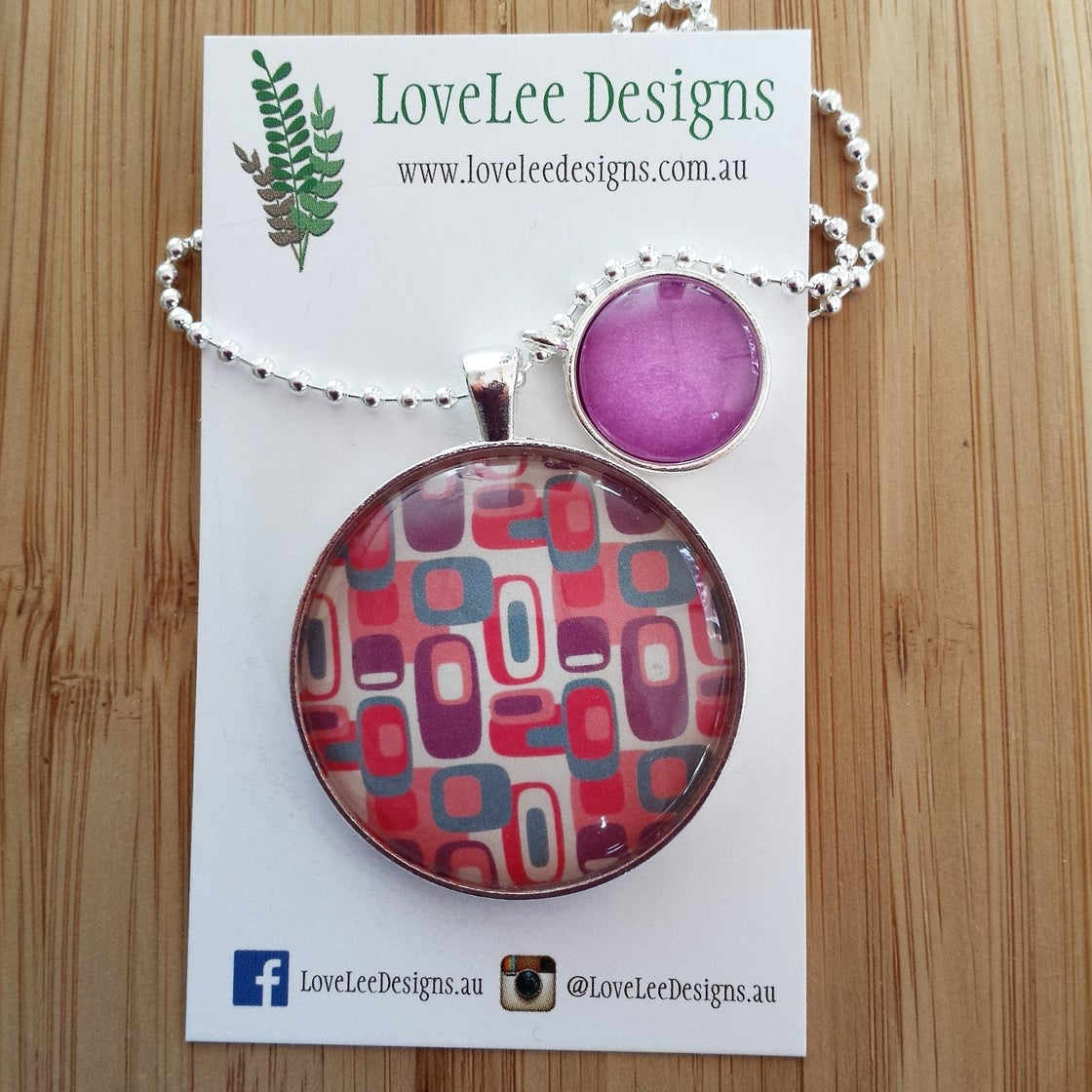 Image of 1.5inch pendant with charm - purple abstract