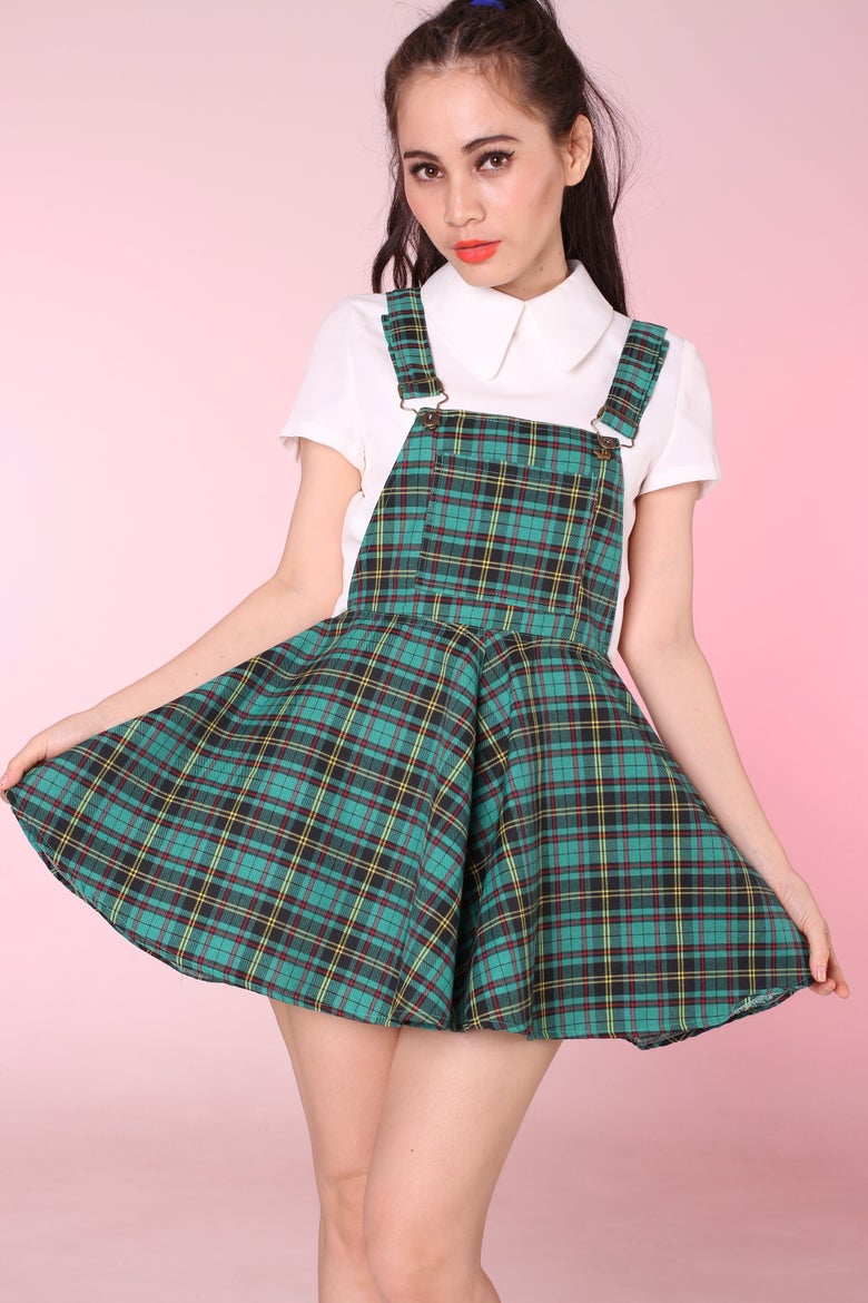 Image of Ready To Post - Green Tartan Pinafore