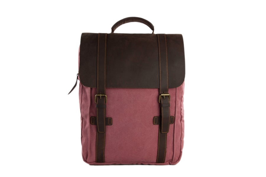 Image of Leather-Canvas Backpack / Laptop Bag / School Bag / Travel Bag / Unisex Backpack 1820
