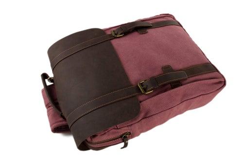 Image of Leather-Canvas Backpack / Laptop Bag / School Bag / Travel Bag / Unisex Backpack 1820