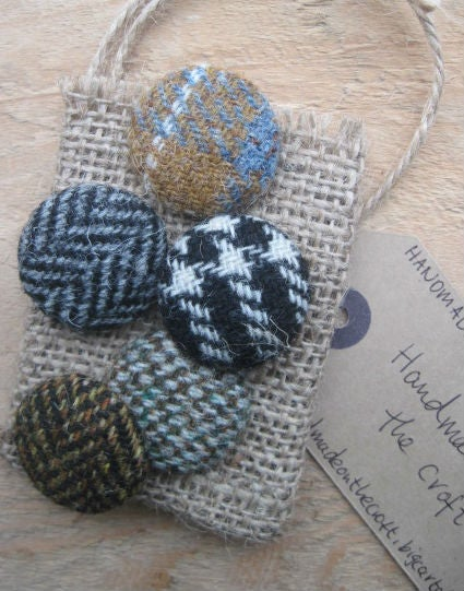 Image of Harris Tweed Buttons (Set of 5)