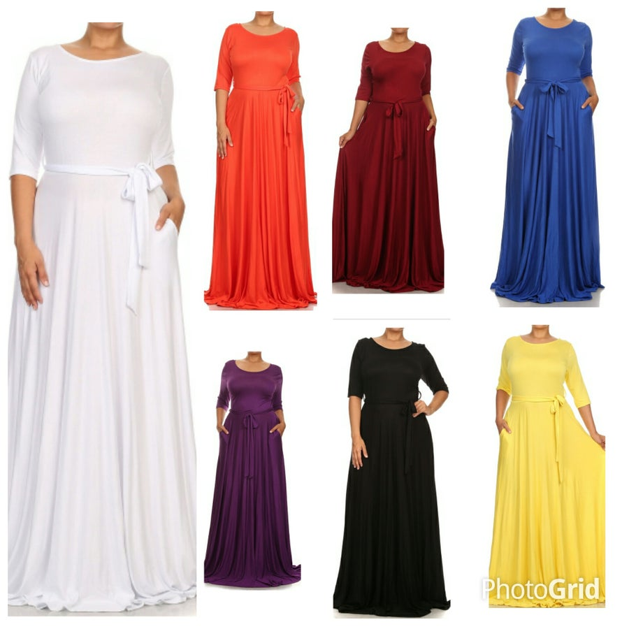 Image of Belted Maxi Dress with Pockets