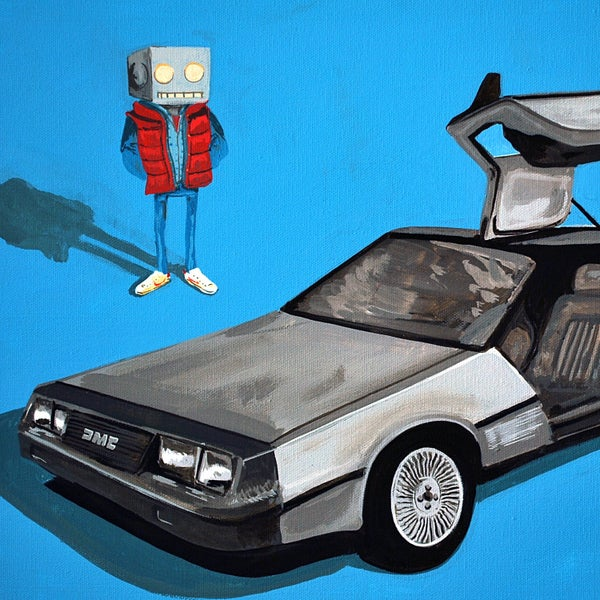 DeLorean and Me Print - Robot Art by Matt Q. Spangler
