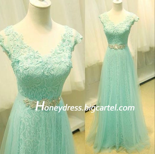 Image of Mint Lace V Neck Tulle A Line Prom Dress With Beading