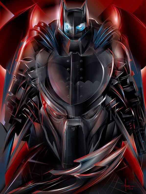 Image of KNIGHT HUNT- Predator vs Dark Knight-18x24- Edtn 50