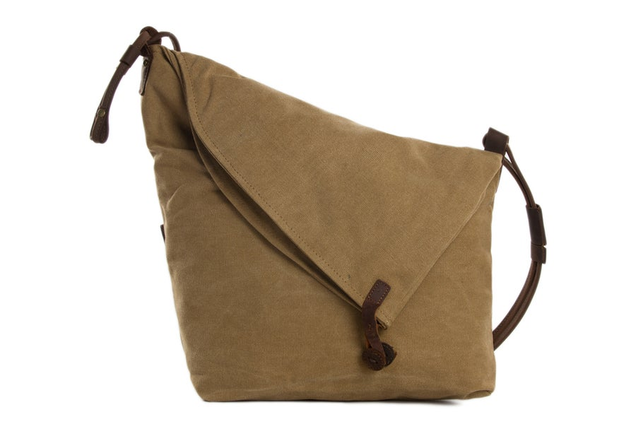 Image of Canvas Leather Messenger Bag, Crossbody Bag Shoulder Bag, Satchel Bag 6631